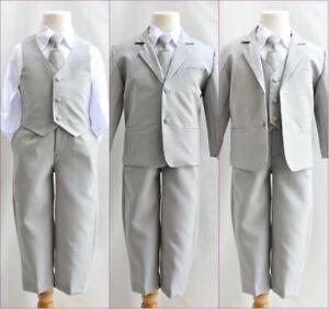 Boys-silver-light-grey-formal-suit-Fancy-wedding-Holiday-set-long-tie-vest-pants