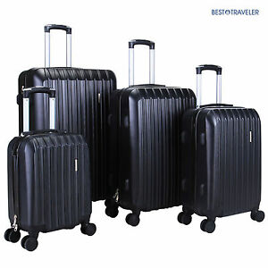 4Pcs ABS Trolley Carry On Travel  Luggage Set Bag Spinner  Suitcase w/Lock Black