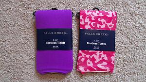 Lot-x2-Girls-Falls-Creek-Footless-Tights-Thin-Pink-Purple-Animal-Sz-4-6-New