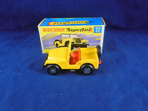 Rare Matchbox Superfast Mb 72 A Jeep Standard Jaune Foncé, Clips Axe Marrons