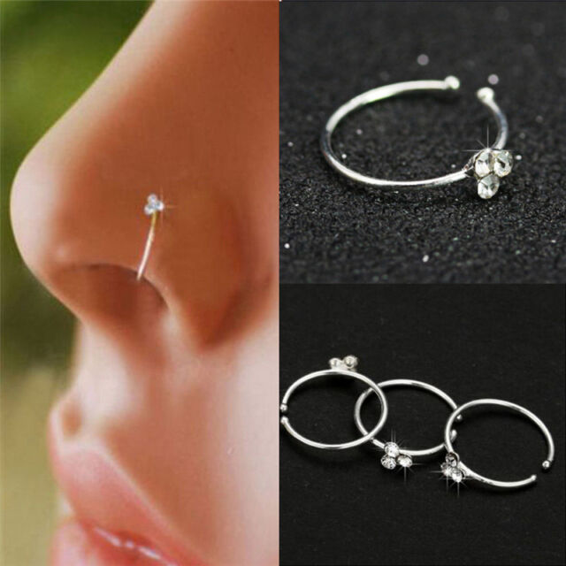 Surgical Steel Nose Ring Crystal Rhinestone Bone Stud Body Piercing Jewelry NSH