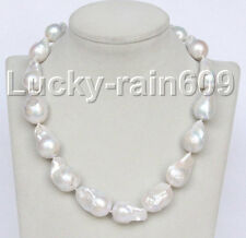 luster Genuine 28mm baroque white Reborn keshi pearl necklace E9100