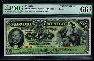 Mexico-RARE-5-Pesos-034-SPECIMEN-034-Banco-De-Londres-Y-Mexico-1900-1913PMG-66