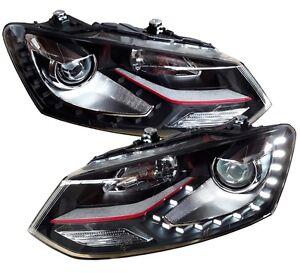 SCHEINWERFER-VW-POLO-6R-6C-09-17-LED-TAGFAHRLICHT-OPTIK-SCHWARZ-GTI-LOOK-SET
