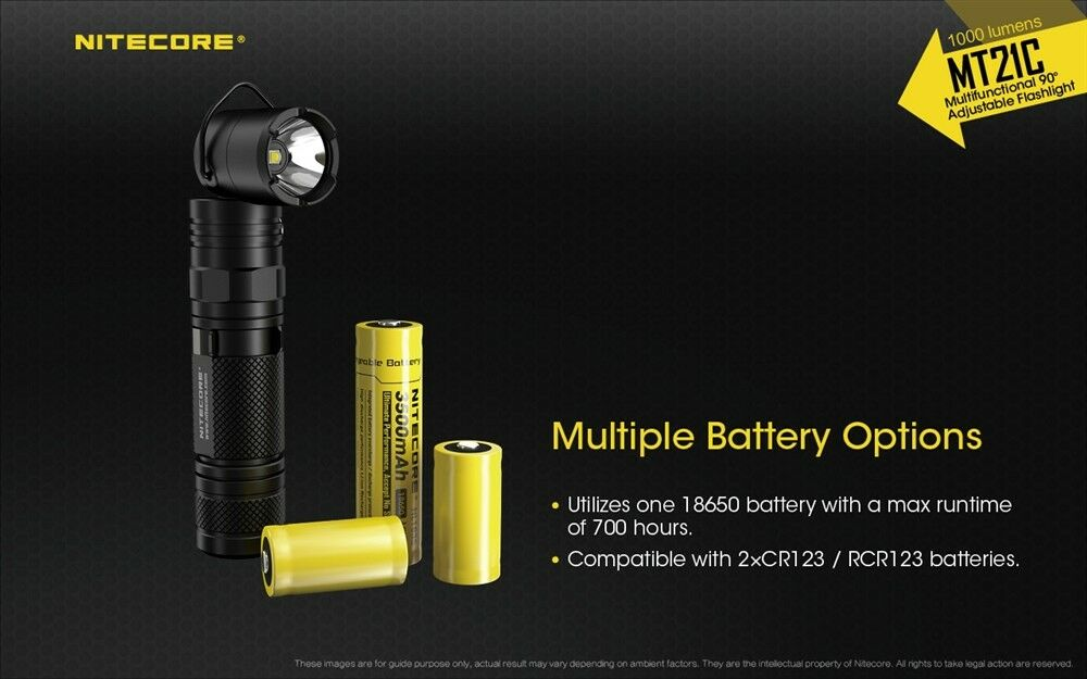 NITECORE MT21C 1000 Lumen Multitask 90 Degree Degree Degree Adj Flashlight FL-NITE-MT21C 973c4e