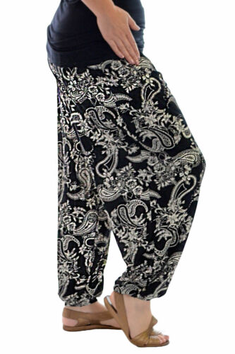 New Womens Harem Trouser Plus Size Ladies Paisley Print Ali Baba Full Nouvelle