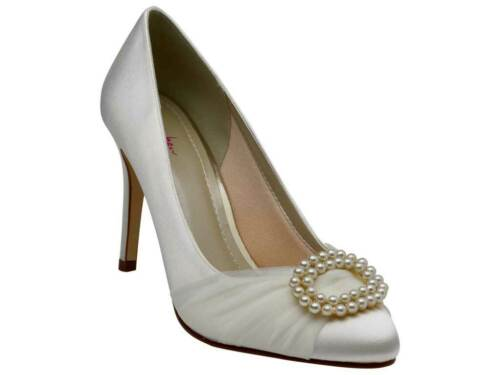 Rainbow Club Beatrice Pearl Brooch Ivory Satin Wedding Womens Court Shoes