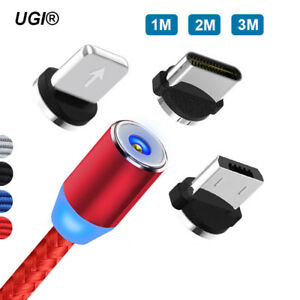 1-3M-Fast-360-Round-Braid-Strong-Magnetic-Micro-USB-Type-C-IOS-Charger-Cable