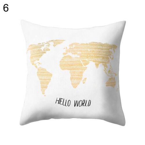 EE/_ Home World Map Print Throw Pillow Case Sofa Waist Cushion Cover Decor Dazzli