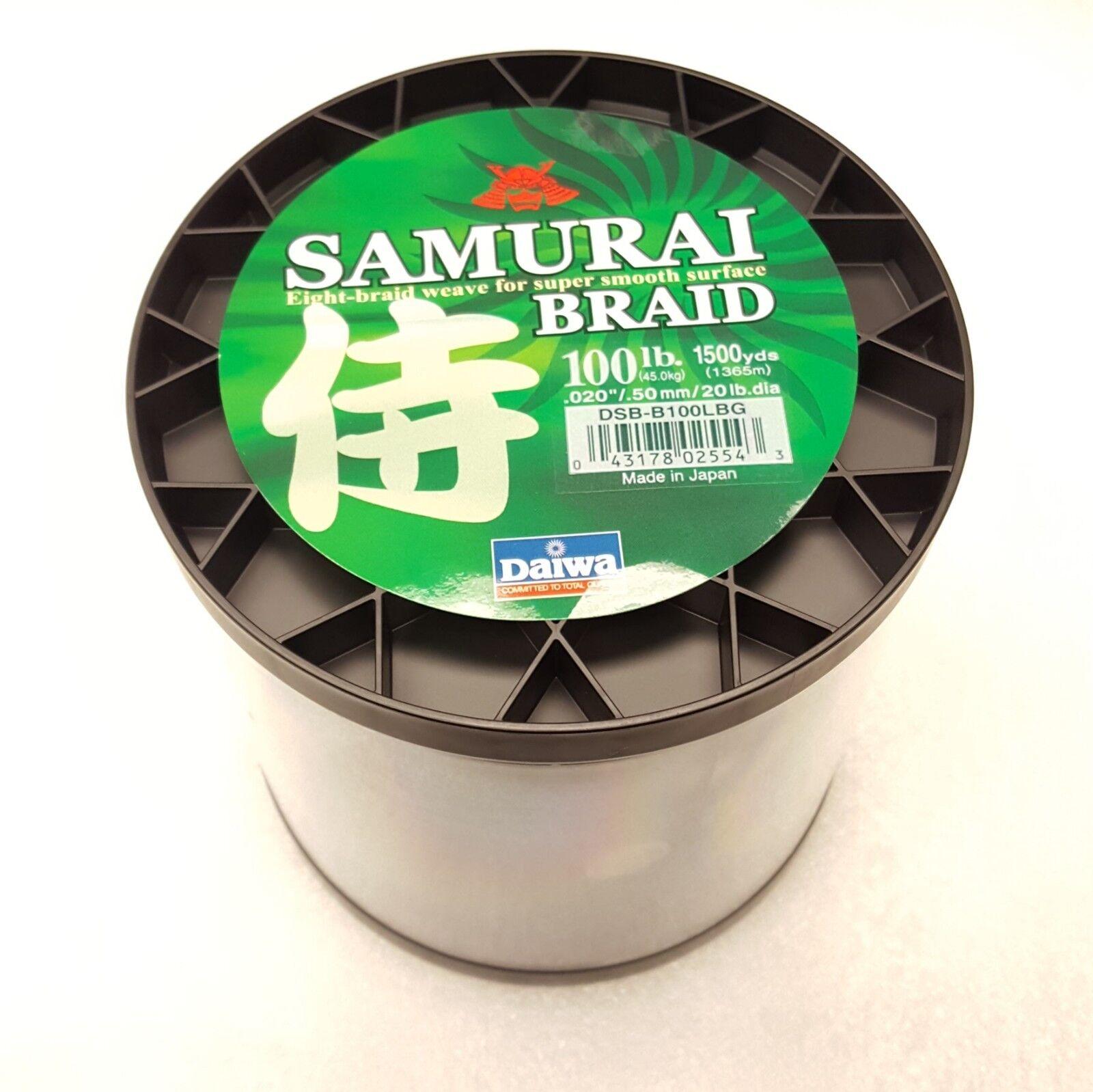Daiwa Samurai Braided Line  Dark verde 100lb Test, 1500 yards  DSBB100LBG