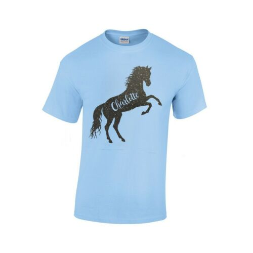 Girls Personalised T Shirt /& Bag Set with Rearing Horse /& own name Age 3-13 NEW