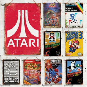 Retro-Gamer-Collection-Metal-Wall-Sign-Games-Mancave-Arcade-Console-Pixel-Art