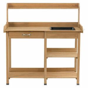 Potting-Table-Bench-Garden-Planting-Wood-Shelves-Outdoor-Indoor-Work-Station