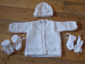 3-6 6-9 Months Booties Mitten Set Hand Knitted 0-3 New Baby Cardigan,Hat