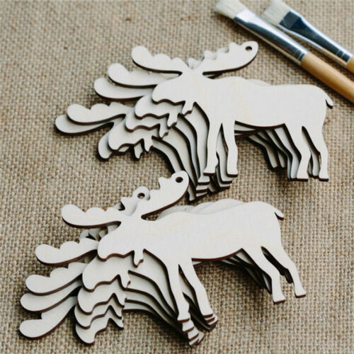 1//10Pcs Christmas Tree Decor Ornaments Small Pendant Wood Chip Hanging Gift Ty