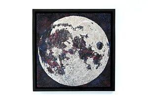 Contemporary-Art-Moon-Chrome-Reflective-Wax-Framed-Original-Unique-Floating