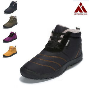 dc7cf40ca15e Winter Snow Boots Warm Fur-lined Shoes for Men Women Anti-skid ...