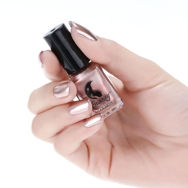 6ml Rose Gold Nail Polish Metallic Mirror Effect Varnish Manicure ...