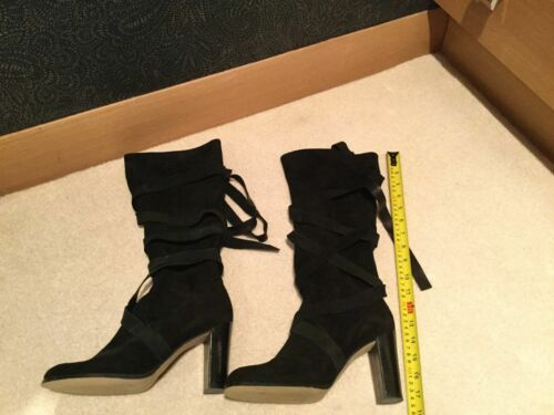 Slouch Lace Tie Strappy Boots Up High Pirate Black Shellys Knee Suede StwIIY