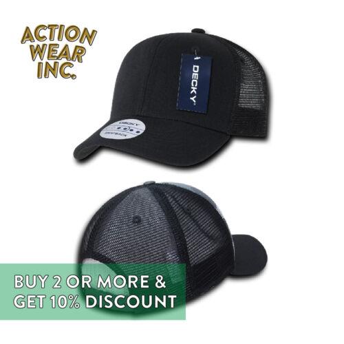 DECKY MENS PLAIN TRUCKER HAT CAMO MESH CAP SNAPBACK HATS PRE-CURVED BILL CAPS