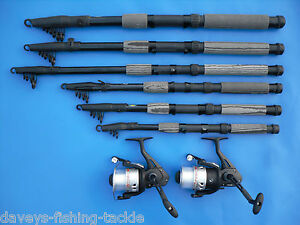 Details about 2 CARBON TELESCOPIC RODS+OKUMA ATOMIC 160 REELS 6,7,8,9,10,12 ft SPINNING TRAVEL