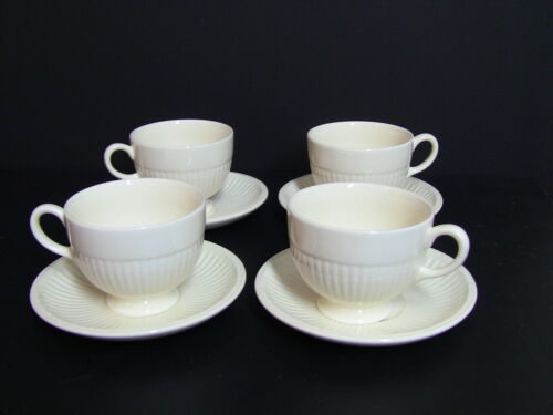 Wedgwood EDME Cream Footed Cups and Saucers Set of 4