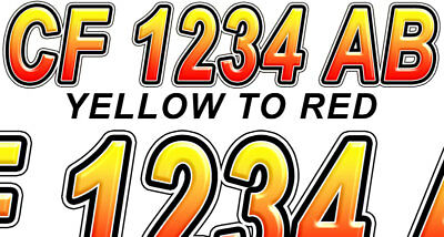 Red to Yellow Custom Boat Registration Numbers Decals Vinyl Lettering Stickers