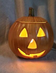 Halloween-Ceramic-Pumpkin-Jack-O-Lantern-with-Light-Vintage-Orange-Home-Decor