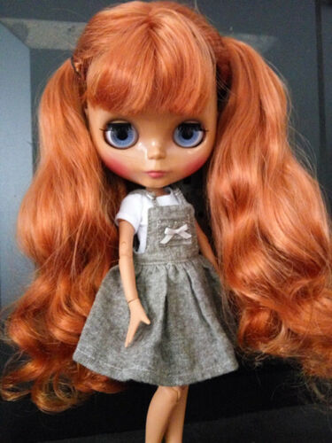 "12/"" Neo Blythe Doll from Factory Black Skin Jointed Body Auburn Hair With Bang"