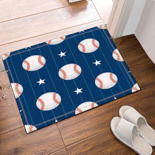 The Baseball Theme  Waterproof Fabric Home Decor Shower Curtain Bathroom Mat