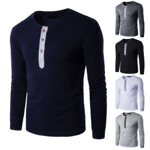 Men-039-s-Winter-Slim-Fit-Casual-Splicing-Button-Long-Sleeve-Muscle-Tee-Shirt-Blouse