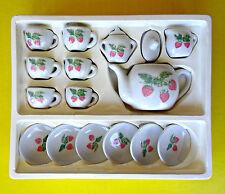 Vintage China Miniature Doll Dollhouse Tea Party Set Porcelain Strawberry 17 Pc
