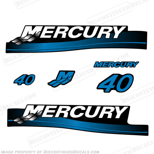 Smaller Cowl Blue or Red Mercury 40hp 2-Stroke Outboard Decal Kit