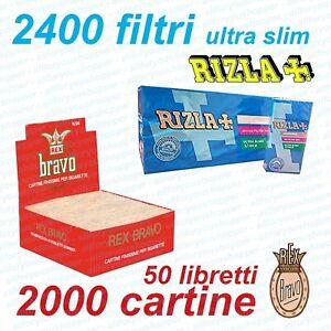 2000-CARTINE-BRAVO-REX-CORTE-REGULAR-BIANCHE-e-2400-FILTRI-ULTRASLIM-RIZLA