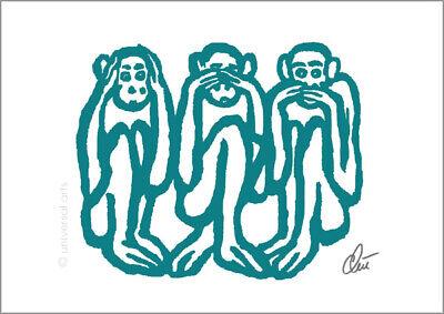 JACQUELINE DITT Wise Monkeys ltd.sign.Original Druck Grafik 13x18 cm Drei Affen