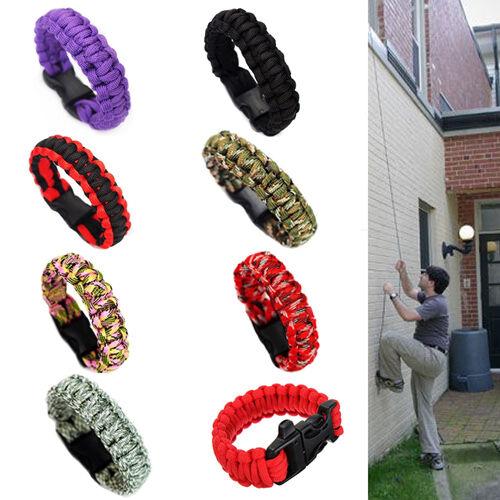 UK/_ EG/_ Outdoor Survival Kit Whistle Bracelet Camping Rope Fashion Wristband Tas