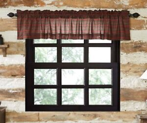 Details about TARTAN RED PLAID Valance Lined Country Plaid Cotton Rustic  Cabin Lodge VHC 16x60