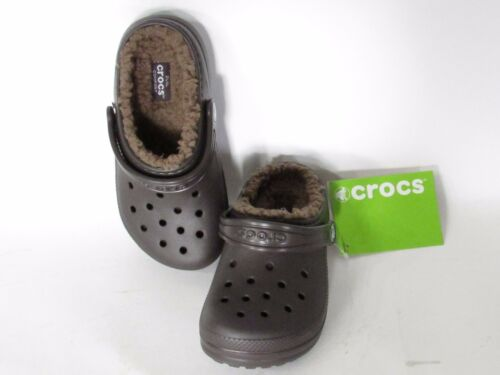 size 11 CROCS Kids  BoyS//Girls Expresso Winter Slipper Classic Fuzz Lined Clogs