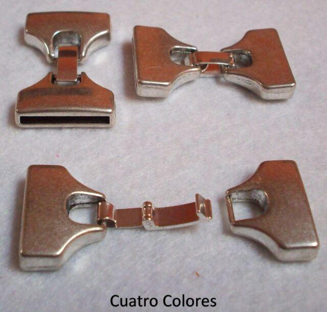 3 CIERRES PRESIÓN ZAMAK, PULSERA, CUERO  3,5x2,5cm AGUJERO 20x2,5mm,  PLATA.CI17