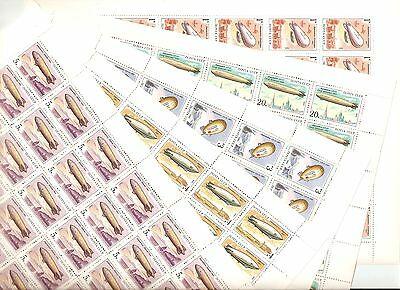 USSR 1991...n°YT 5877-81 MNH ** ..54€..AIRSHIPS...DIRIGABLES...(5 SHEETS)