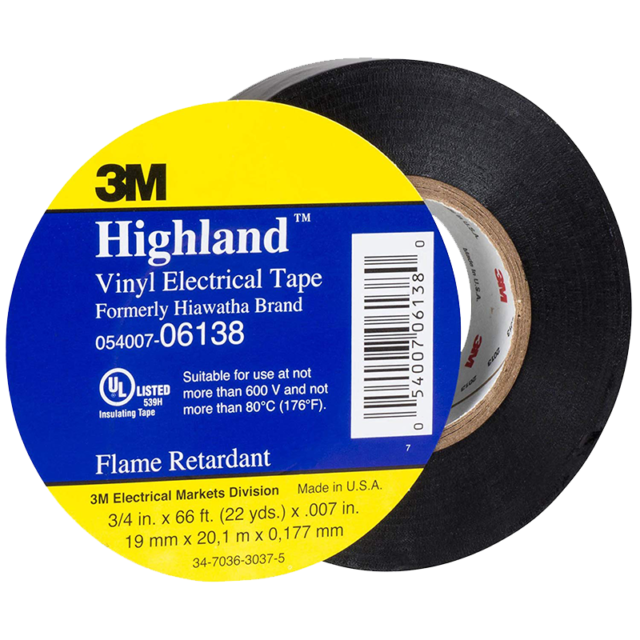 3M™ Highland™ Vinyl Electrical Tape, 3/4 in x 66 ft, Black, 1.5 in core