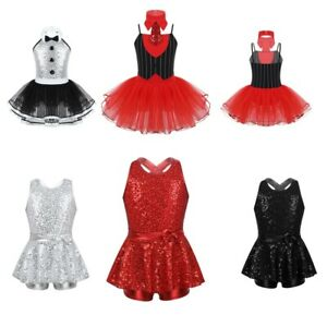 Girls-Xmas-Ballet-Dance-Leotard-Lyrical-Tutu-Dress-Kid-Gym-Sequins-Skirt-Costume