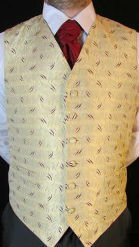 Various Sizes Available W035 Mens Mink//Burgundy Pattern Wedding Suit Waistcoat