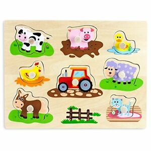 Professor-Poplar-039-s-Wooden-Barnyard-Animals-Peg-Puzzle-Sensory-Tactile-Learning