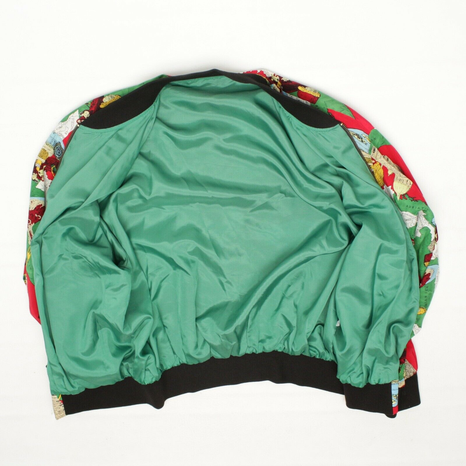 Silk Bomber Jacket L Red Green Italy Print Sports… - image 6