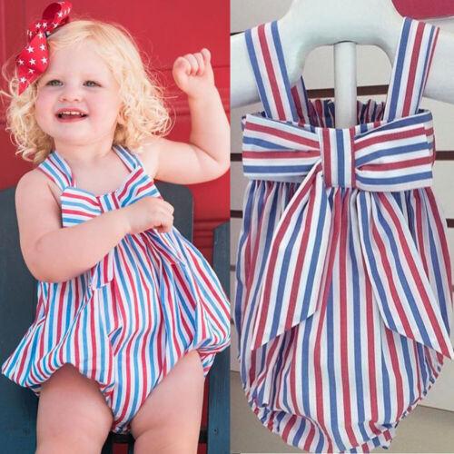 US Stock Infant Newborn Baby Girls Romper Clothes Playsuit Sunsuit Jumpsuit
