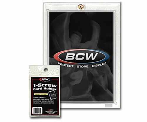 New 100 pk BCW 1Screw Trading Card Holder Thicker 20pt Recessed Screwdown
