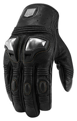 ICON 1000 RETROGRADE Leather Motorcycle Gloves (Black) Choose Size