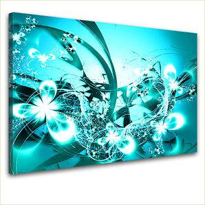 LanaKK edel Leinwand Design Keilrahmen Wand Bild BLÜTEN GRAF TÜRKIS blau weiß