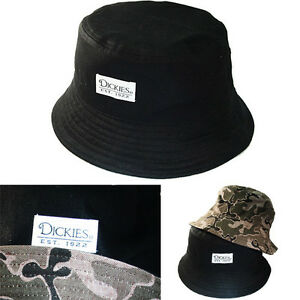 26053c171dc Image is loading Dickies-Mens-Chambray-Reversible-Bucket-Hat-Black- Camouflage-